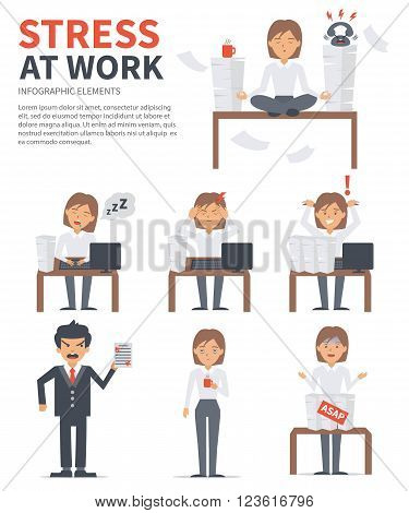 Business woman stress day at work. Vector stress infographic.