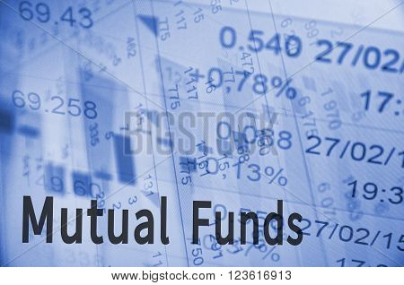 Close-up computer monitor with trading software and inscription Mutual funds.