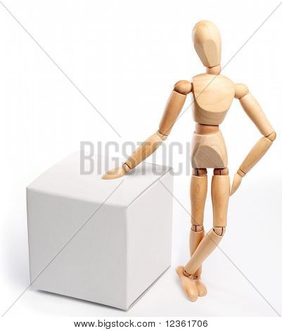wooden man with a white box