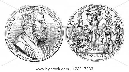 Juanelo turriano. Medal struck in 1559 in Cremona, vintage engraved illustration. Magasin Pittoresque 1880.