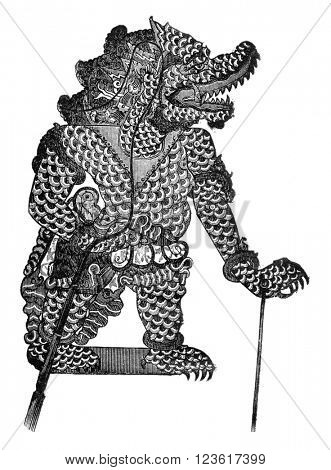 Javanese theater, Vikata, the Wayang-Purwa character, vintage engraved illustration. Magasin Pittoresque 1876.