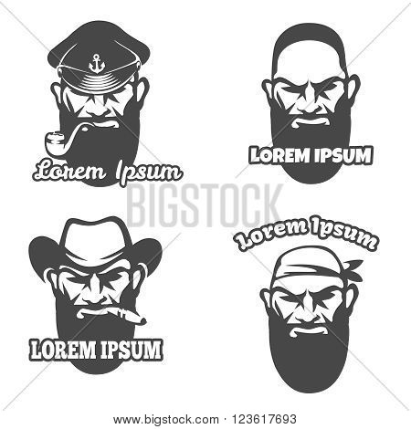 Caucasian face logo element. Pirate and gangster logo face, captain and wild west cowboy face