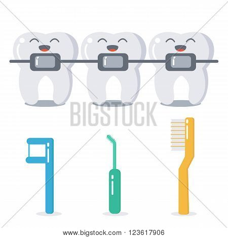 Vector cartoon teeth with braces and hygiene products for braces care. Cute flat illustration. Dental care concept.