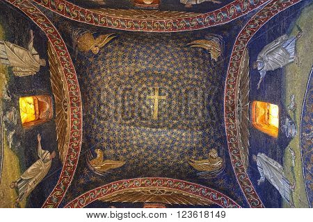 Ravenna, Italy - Febuary 18, 2016: Interior of Mausoleum of Galla Placidia, a Roman chapel embellished with colorful Roman mosaics in Ravenna. It was resignated as Unesco World Heritage.