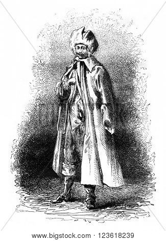 German trooper of the seventeenth century, Historical Costume Museum, vintage engraved illustration. Magasin Pittoresque 1876.