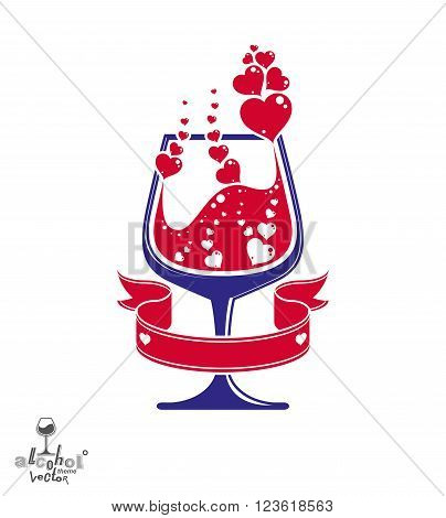 Simple Vector Cognac Goblet With Splash, Alcohol Idea Illustration. Stylized Artistic Glass With Red