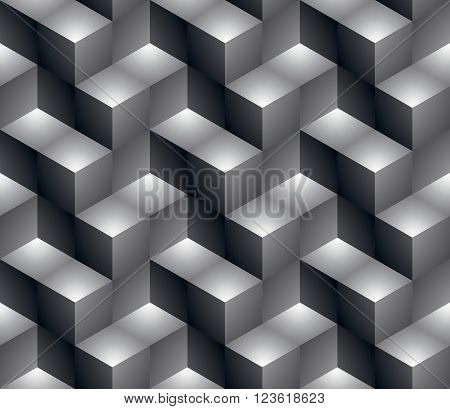 Regular contrast textured endless pattern with three-dimensional cubes continuous black and white geometric background.