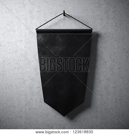 Empty blank black hanging on concrete wall. Ready for your business information. High detailed texture material.  Abstract background. 3D rendering