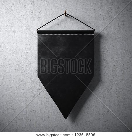 Blank black pennant hanging concrete wall. Ready for your business information. High detailed texture material. Abstract background. 3D rendering