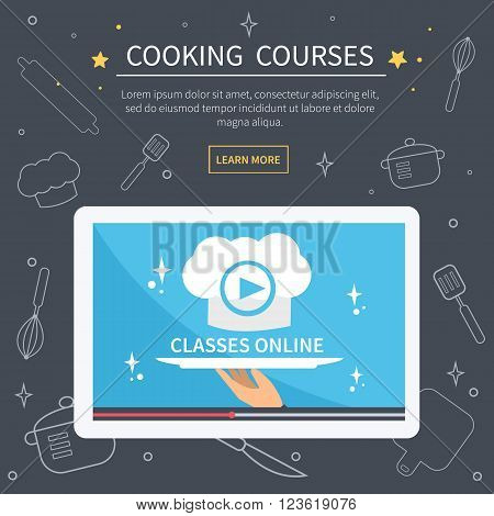 Vector cooking courses image. Flat design for web banner. Online culinary classes concept