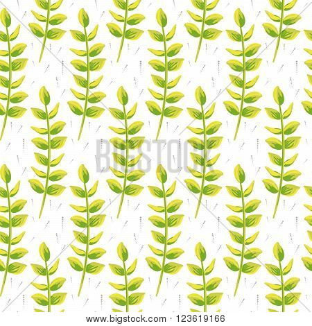 Spring wild flower leaves field seamless pattern. Floral tender fine summer vector pattern on white background. For fabric textile prints and apparel.