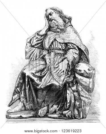 Statue of the prophet Elijah, by Alonso Cano, in the church of Saint John Kings in Toledo, vintage engraved illustration. Magasin Pittoresque 1873.