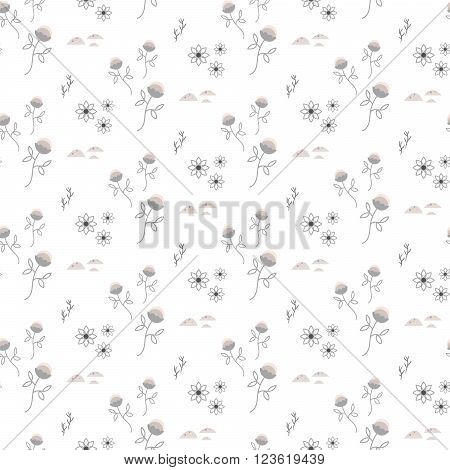 Spring wild flower light grey field seamless pattern. Floral tender fine summer vector pattern on white background. For fabric textile prints and apparel.