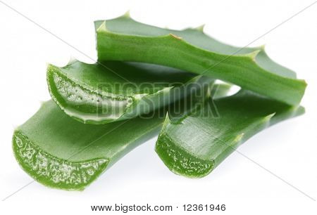 Pieces of aloe vera. Isolated on a white background.