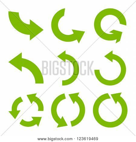 Rotate Counterclockwise vector icon set. Collection style is eco green flat symbols on a white background.