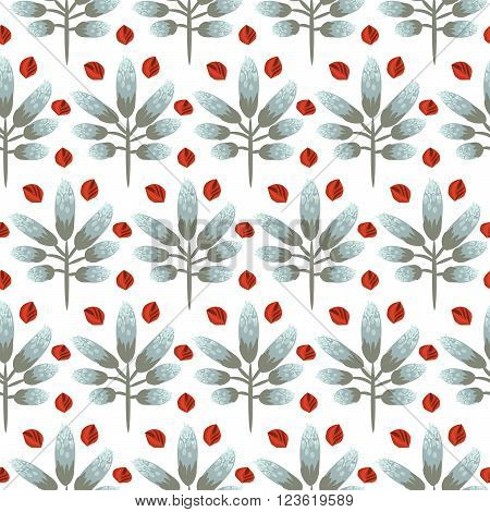 Spring wild flower slate gray color field seamless pattern. Floral vector pattern on white background with red accents. For fabric textile prints and apparel.