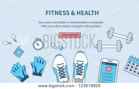 Fitnes and health banner design. Vector line style illustration. Can used for web banners hero images printed materials infographics.
