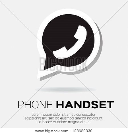 Black Telephone handset in speech bubble vector icon - green version.