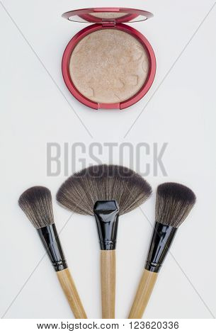 isolated big makeup brushes for professional and natural look blusher