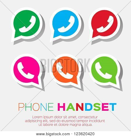 Telephone handset in speech bubble vector icon - green version.