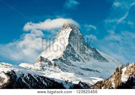 Winter view on snowy Matterhorn from Zermatt village, Switzerland