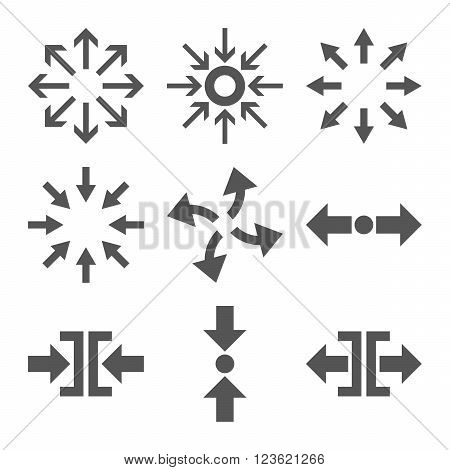 Compress and Explode Arrows vector icon set. Collection style is gray flat symbols on a white background.