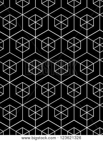 Regular contrast textured endless pattern with cubes continuous black and white geometric background.