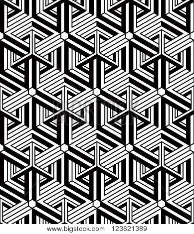Regular contrast endless pattern with intertwine three-dimensional figures continuous illusory geometric background.
