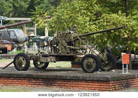 HUE, VIETNAM - JANUARY 08, 2016: 37 mm double-barreled anti-aircraft gun in the city of Hue. The landmark of Hue, Vietnam