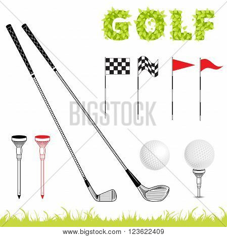 Golf icon set. Vector Set Golf Equipment Icons. Golf collection include: grass bush flag holeball tee stick club. Retro poster on sport theme
