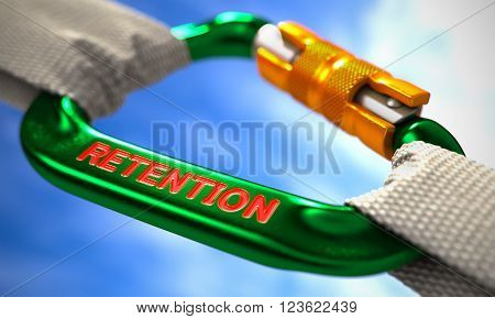 White Ropes Connected by Green Carabiner Hook with Text Retention. Selective Focus. 3D Render.