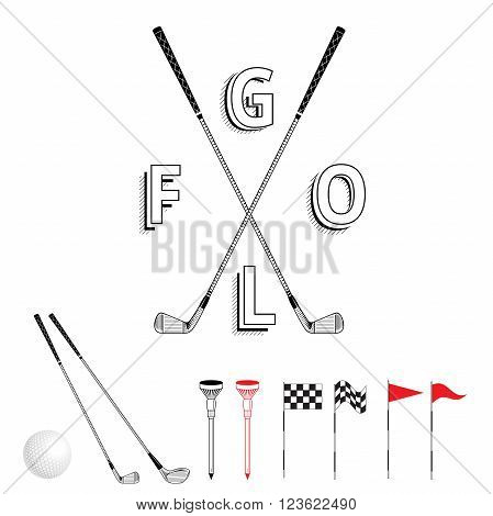 Golf graphic logo. Golf icon set. Vector Set Golf Equipment Icons. Golf collection include: grass bush flag holeball tee stick club
