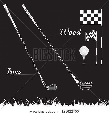 Vector Set Golf Equipment Icons on black background. Golf collection include: grass bush flag holeball tee stick club. Black and white color icons for golf
