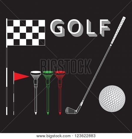 Golf equipments on black background. Golf set include: flag hole ball tee stick club. Black and white color icons for golf