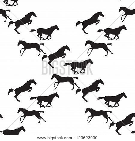 Horse racing image for background banners flyers. Vector seamless pattern with horses. Black horse seamless pattern on isolated background. Background with Equine sports theme