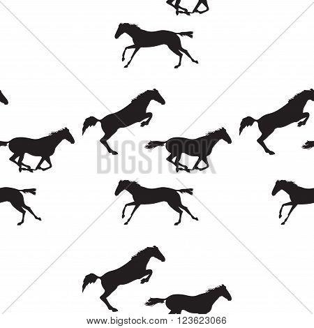 Seamless pattern with silhouette of horse. Horse racing image for background banners flyers. Vector seamless pattern with horses. Black horse seamless pattern on isolated background