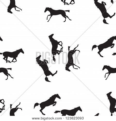 Simple horses vector illustration. Seamless pattern with silhouette of horse. Vector seamless pattern with horses. Black horse seamless pattern on isolated background