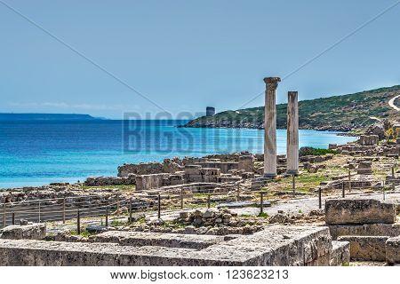 Tharros columns by the sea in Sardinia