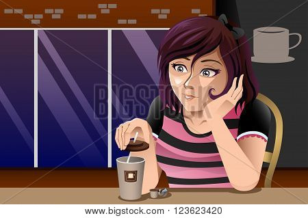 A vector illustration of girl drinking coffee outside café shop