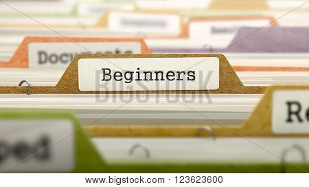 Beginners on Business Folder in Multicolor Card Index. Closeup View. Blurred Image. 3D Render.