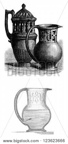 Pots deceptive, cross section of deceptive pot, vintage engraved illustration. Magasin Pittoresque 1873.