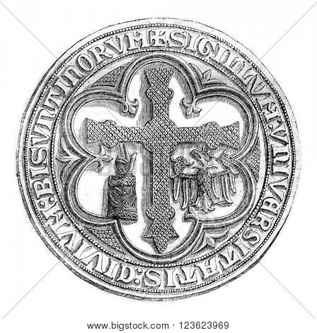 Great Seal of the town of Besancon, late thirteenth century, vintage engraved illustration. Magasin Pittoresque 1870.