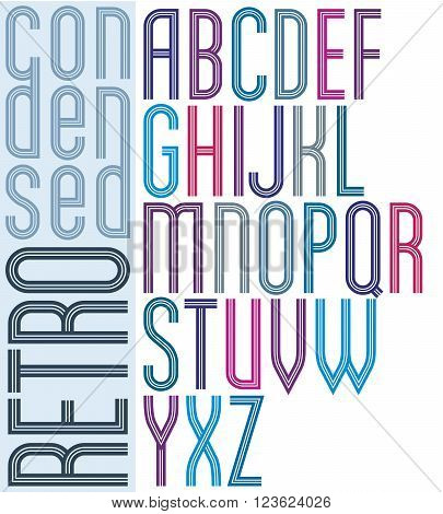 Poster retro striped font bright condensed geometric uppercase letters on white background.
