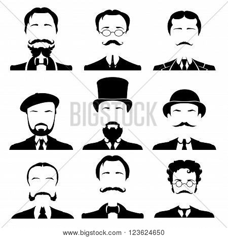 Vintage gentleman portrait set. Retro Collection of diverse male faces. Vector illustration.