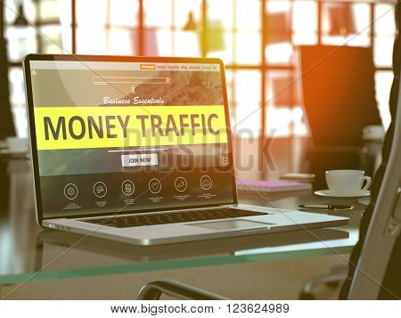 Modern Workplace with Laptop showing Landing Page with Money Traffic Concept. Toned Image with Selective Focus. 3D Render.