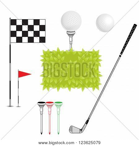 Realistic grass bush flag ball tee stick iron club. Vector Set Golf Equipment Icons. Element can use for web design flyer banner poster print