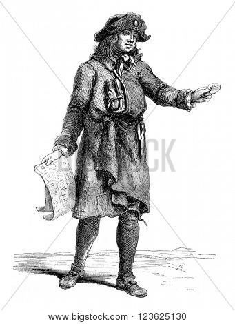 The Merchant of lottery tickets, 1774, vintage engraved illustration. Magasin Pittoresque 1870.