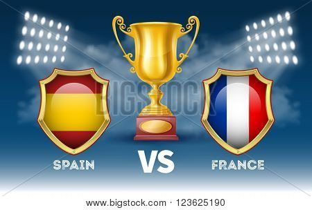 Sport Tournament Poster with Golden Trophy Cup in the Spotlight and Emblems of the Participants on Blue Background. Sport Concept. Sport Advertising. Realistic Vector Illustration.