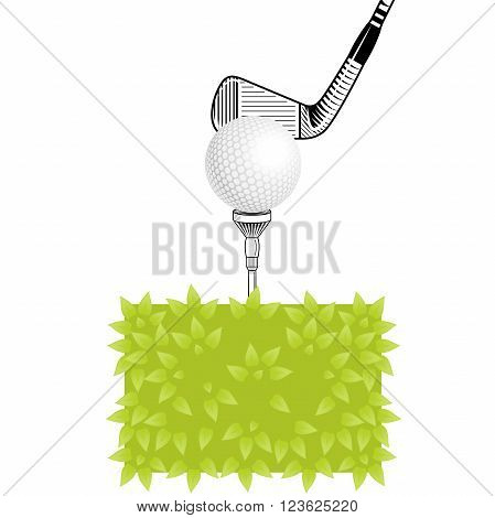 Golf club close-up. Golf tee with realistic ball on grass. Golf elements on isolated background with space for text. Vector bush golf ball tee iron club