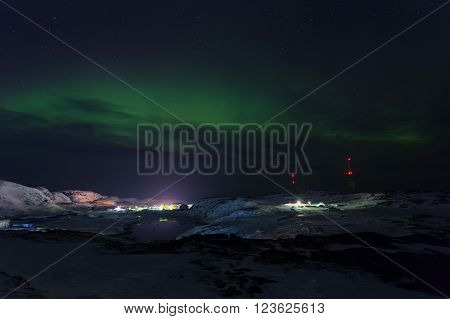 Aurora on Teriberka in Murmansk region Russia